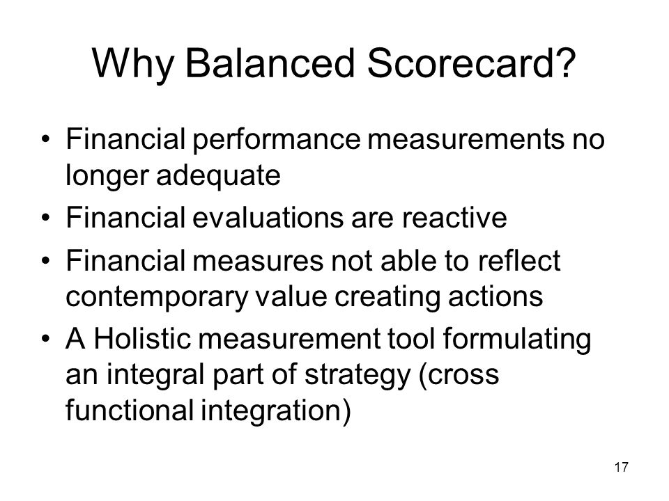 Why Balanced Scorecard