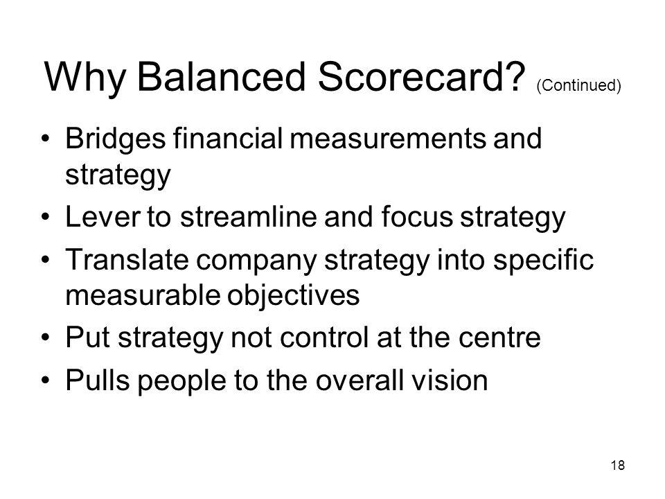 Why Balanced Scorecard (Continued)