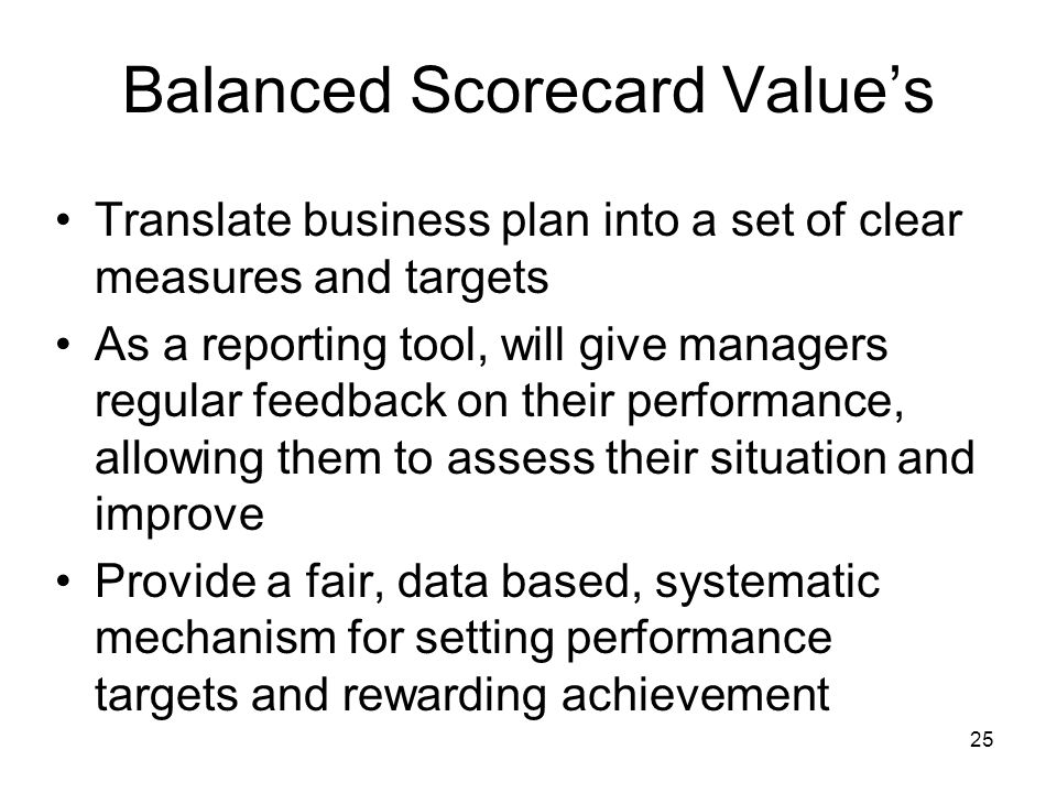 Balanced Scorecard Value's
