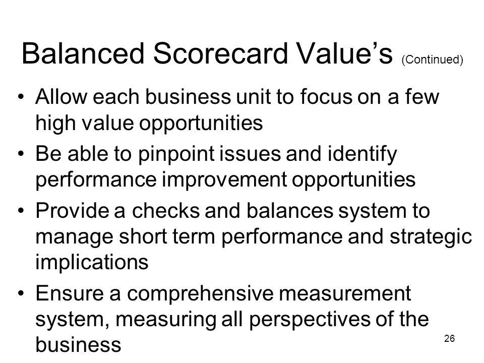 Balanced Scorecard Value's (Continued)