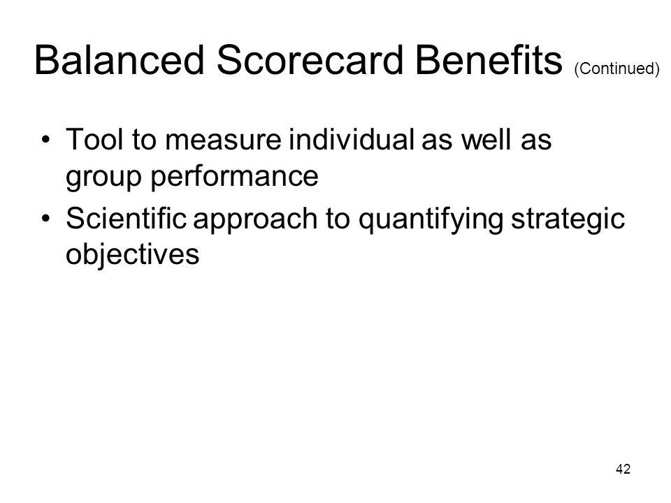 Balanced Scorecard Benefits (Continued)