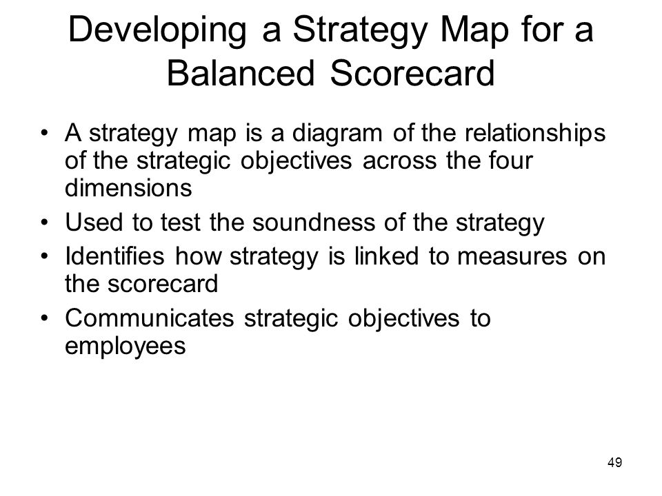 Developing a Strategy Map for a Balanced Scorecard