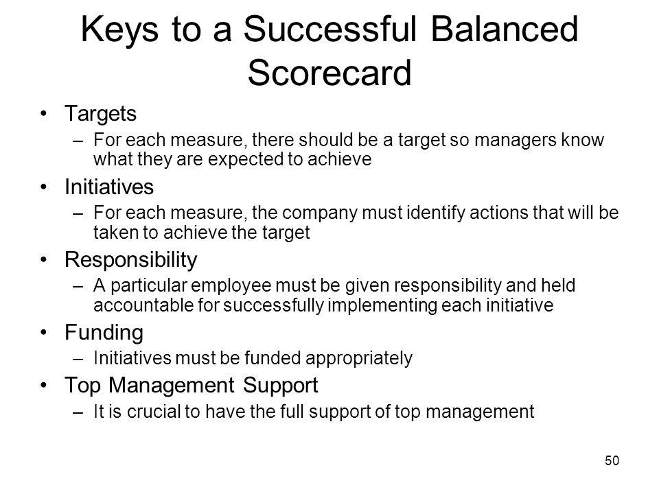 Keys to a Successful Balanced Scorecard