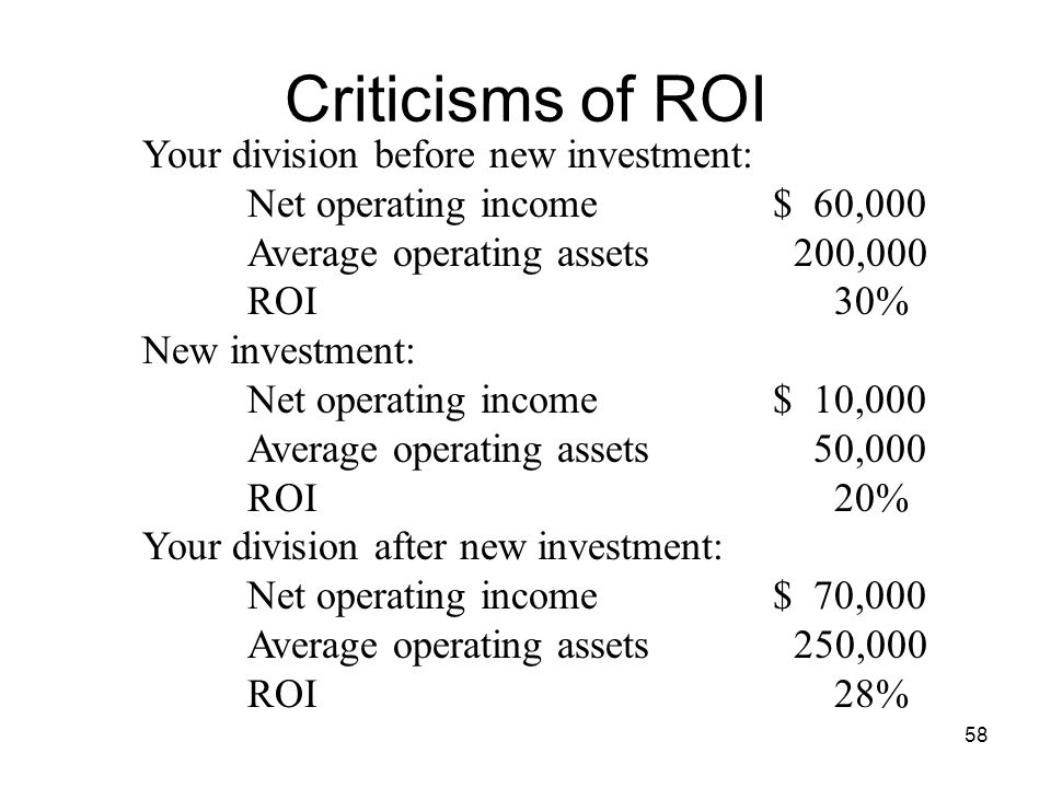 Criticisms of ROI Your division before new investment: