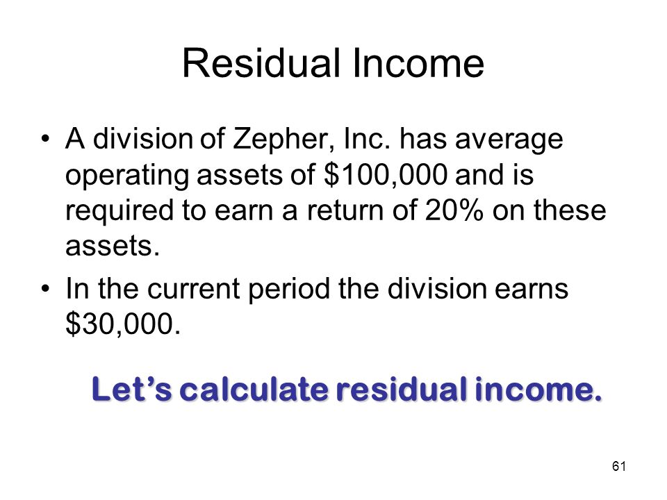 Residual Income Let's calculate residual income.