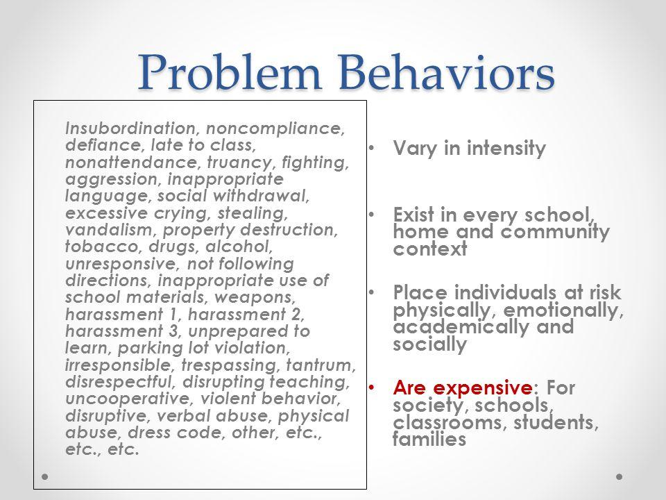 Problem Behaviors Vary in intensity
