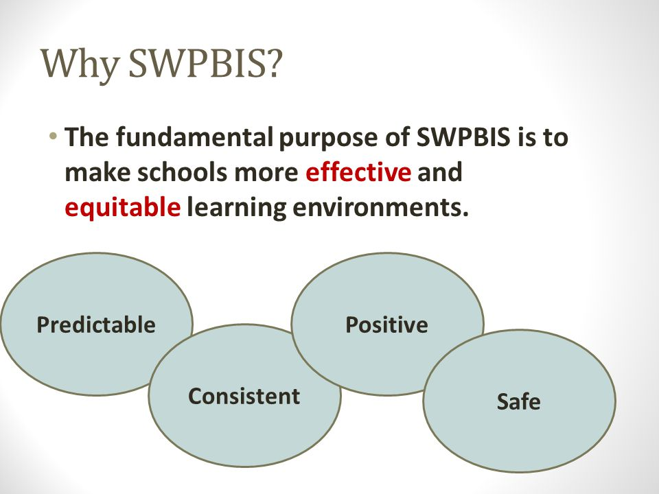 Why SWPBIS The fundamental purpose of SWPBIS is to make schools more effective and equitable learning environments.