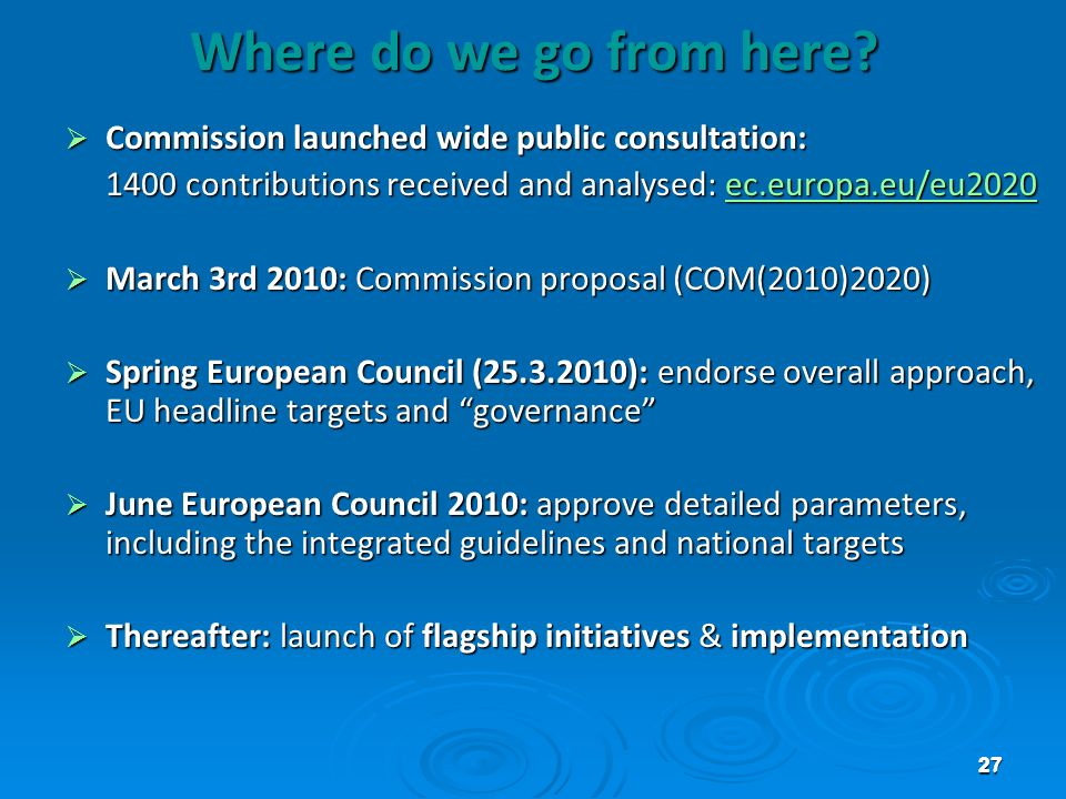 Where do we go from here Commission launched wide public consultation: 1400 contributions received and analysed: ec.europa.eu/eu2020.