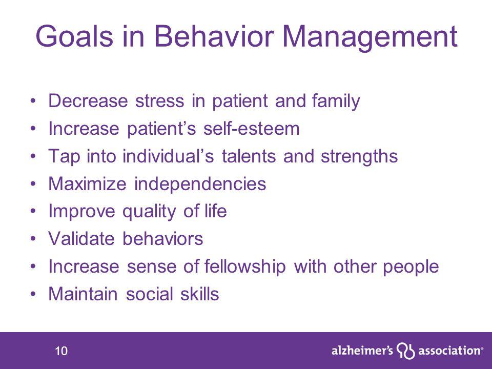 Goals in Behavior Management