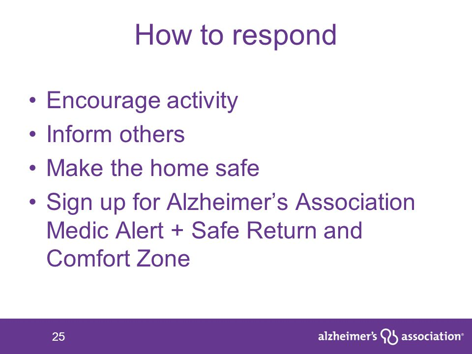How to respond Encourage activity Inform others Make the home safe