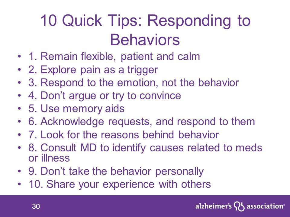 10 Quick Tips: Responding to Behaviors