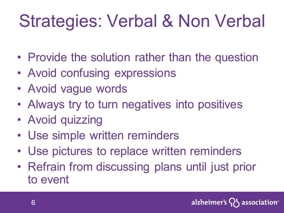 Strategies: Verbal & Non Verbal