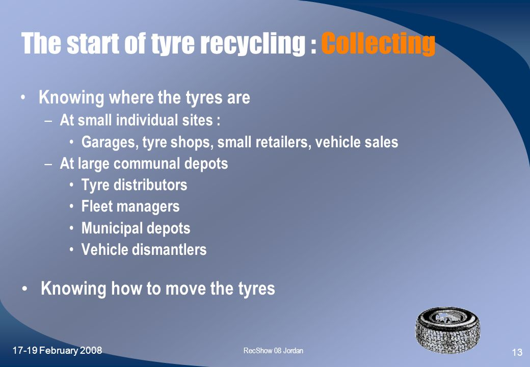 The start of tyre recycling : Collecting