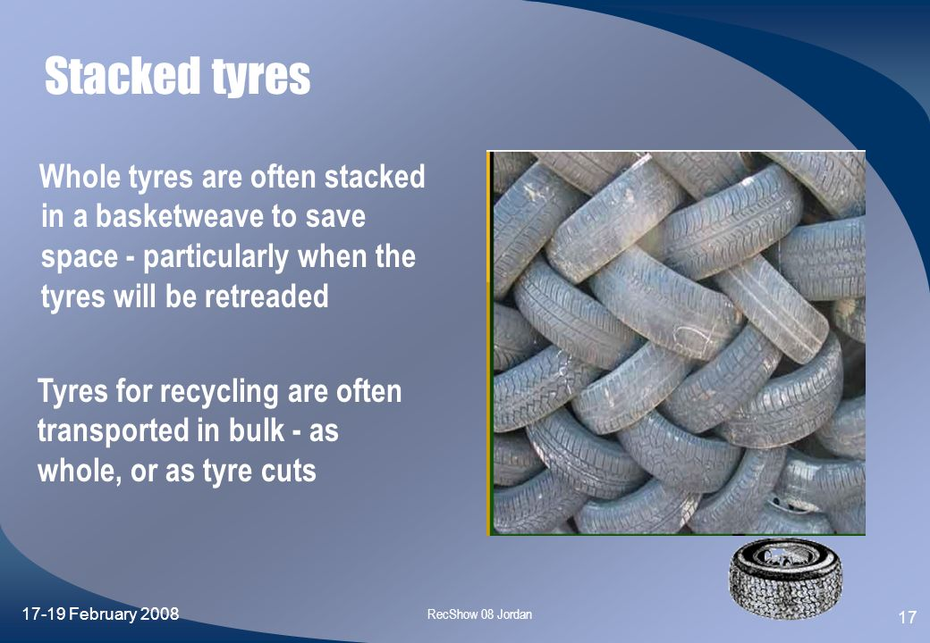 Stacked tyres Whole tyres are often stacked in a basketweave to save space - particularly when the tyres will be retreaded.