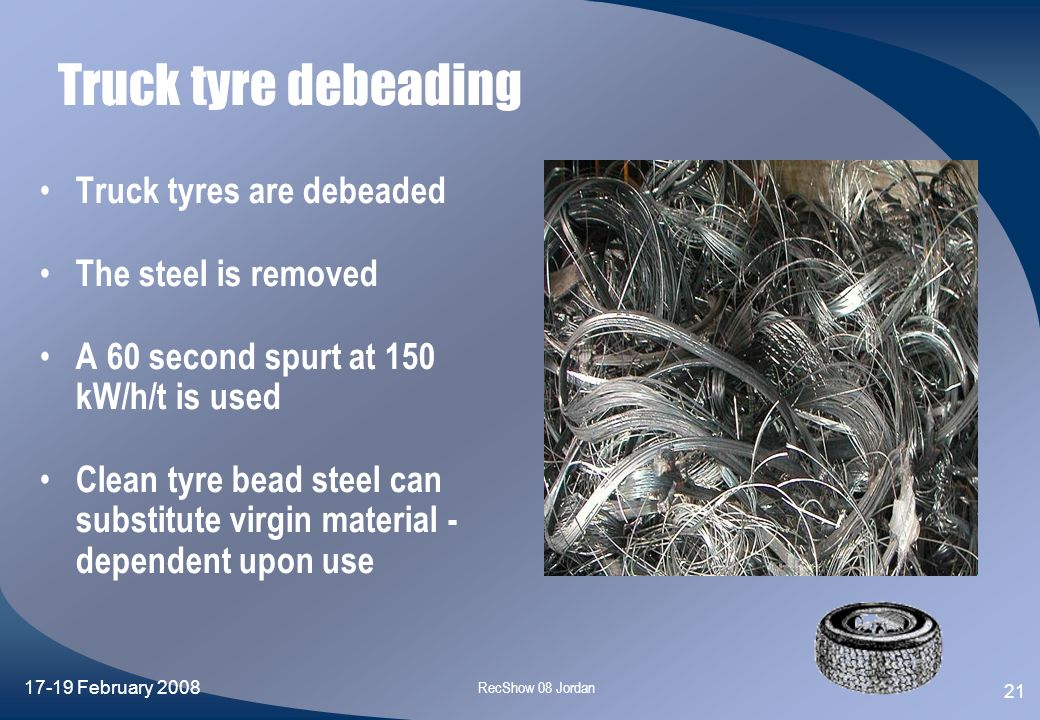 Truck tyre debeading Truck tyres are debeaded The steel is removed