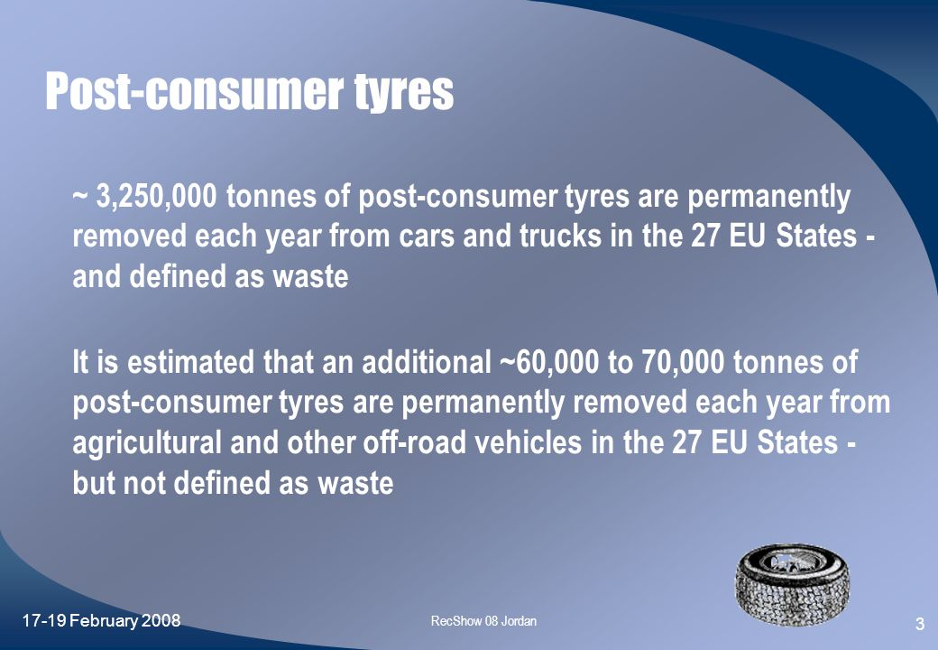 Post-consumer tyres