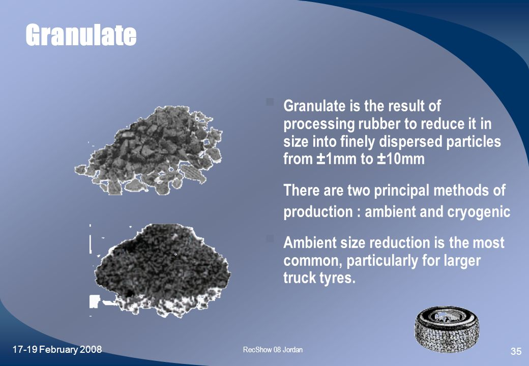 Granulate Granulate is the result of processing rubber to reduce it in size into finely dispersed particles from ±1mm to ±10mm.