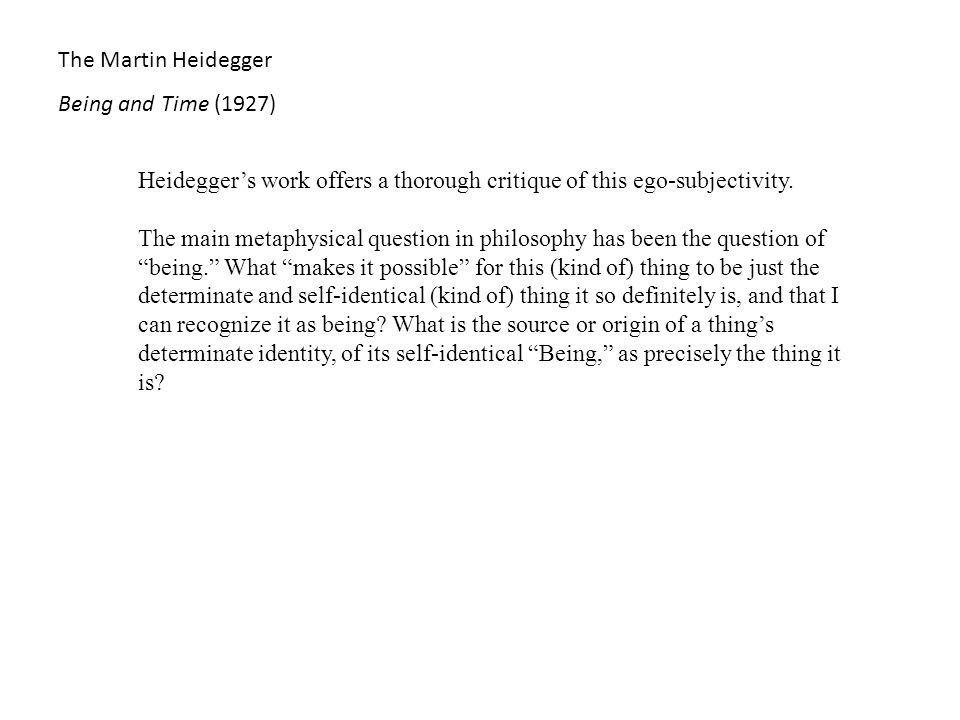 martin heidegger being and time summary