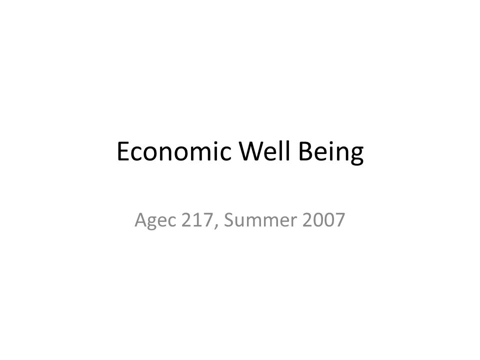 Economic Well Being Agec 217, Summer 2007