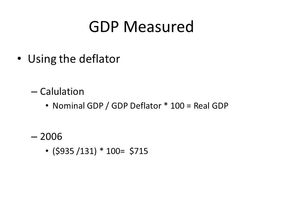 GDP Measured Using the deflator Calulation 2006
