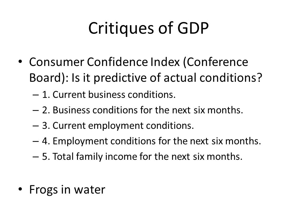 Critiques of GDP Consumer Confidence Index (Conference Board): Is it predictive of actual conditions