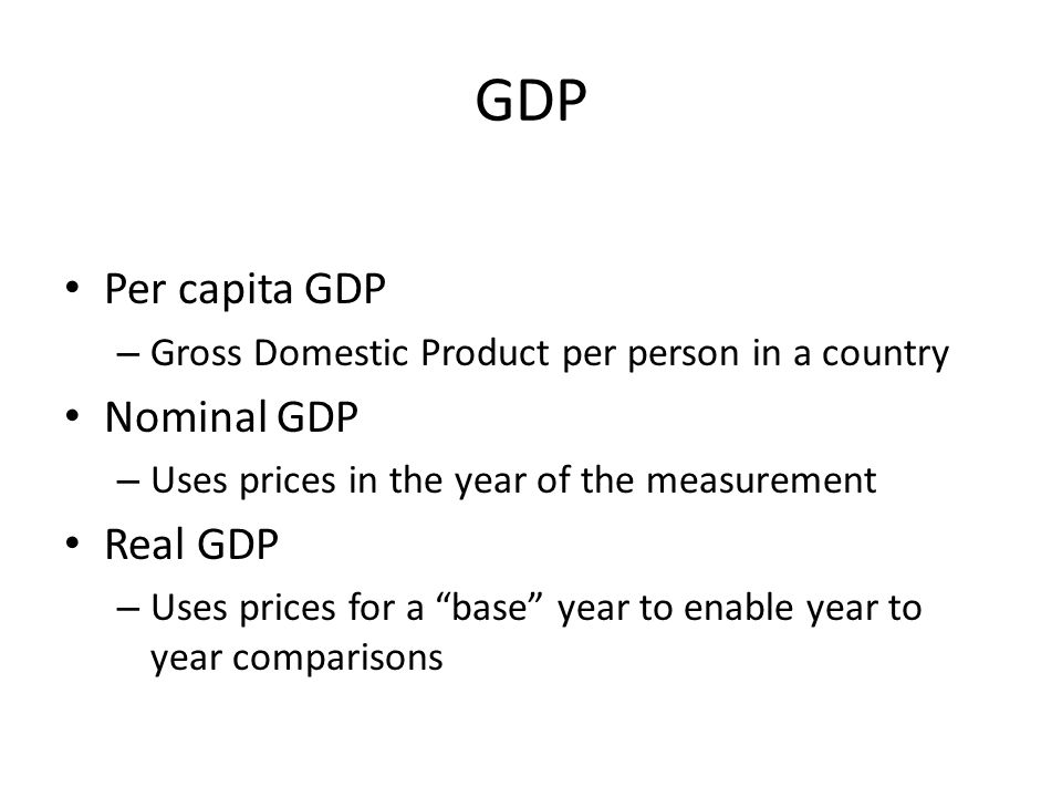 GDP Per capita GDP Nominal GDP Real GDP