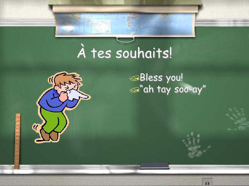 À tes souhaits! Bless you! ah tay soo-ay