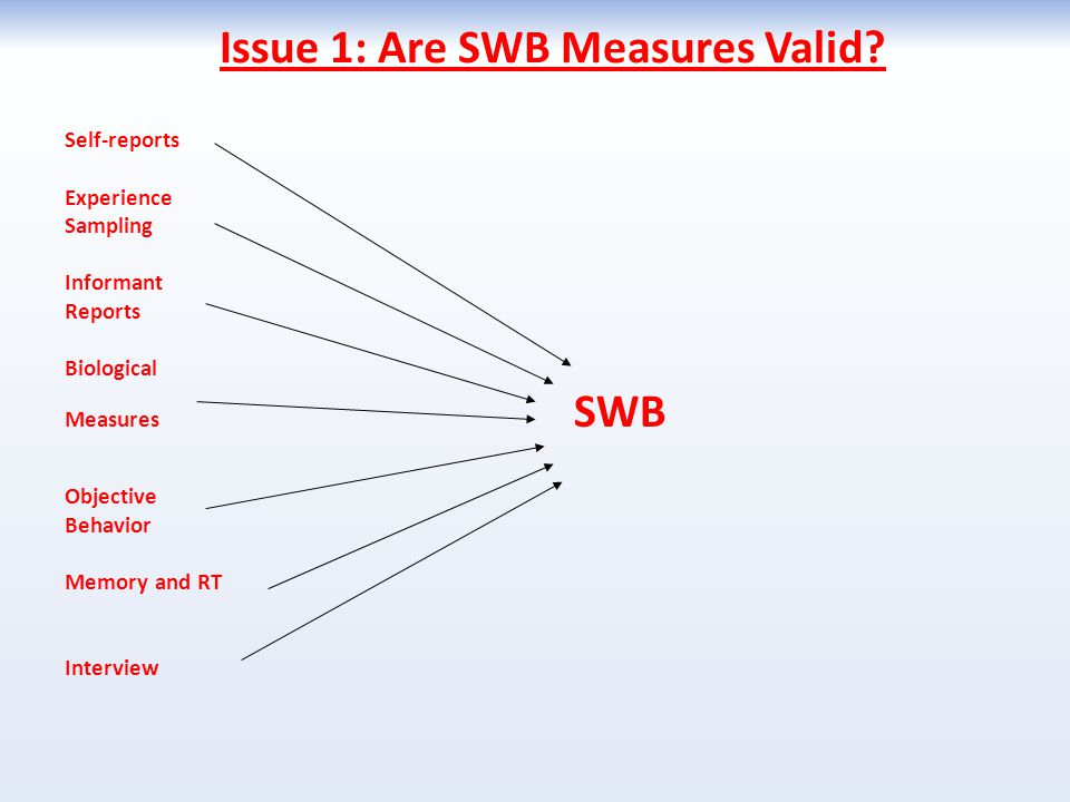 Issue 1: Are SWB Measures Valid