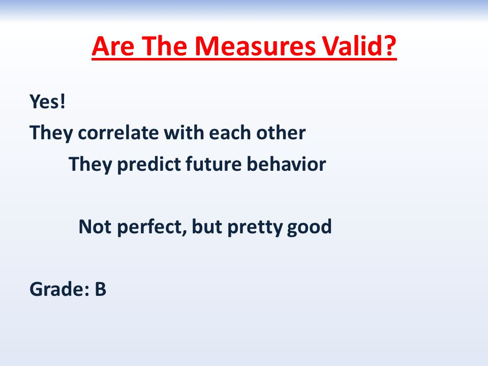 Are The Measures Valid. Yes.