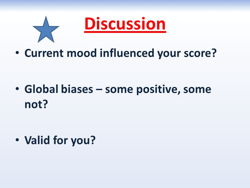Discussion Current mood influenced your score