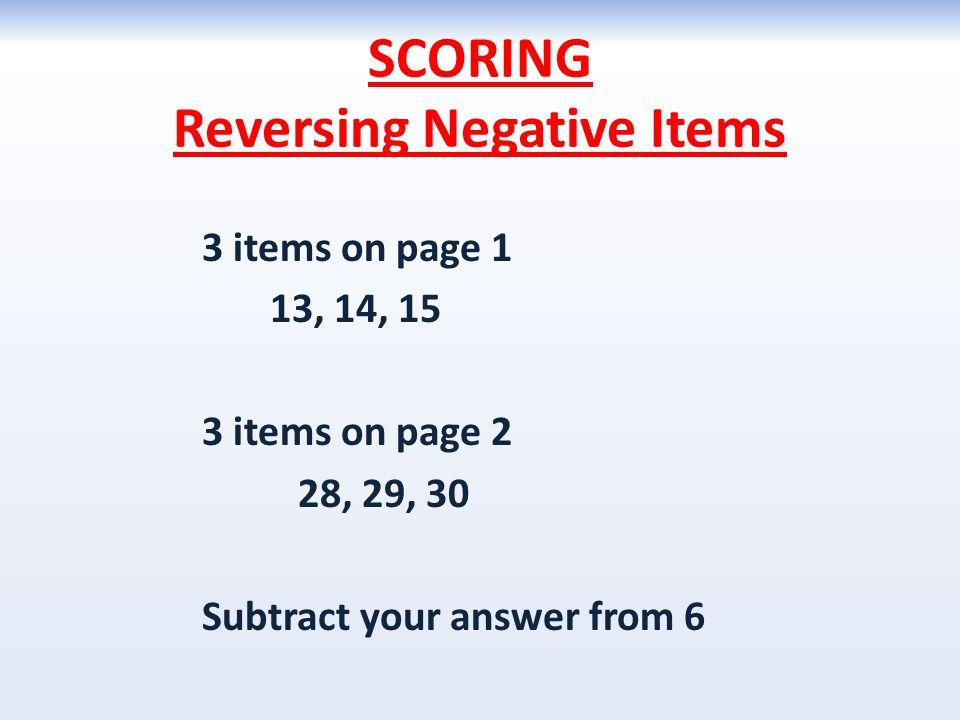 SCORING Reversing Negative Items