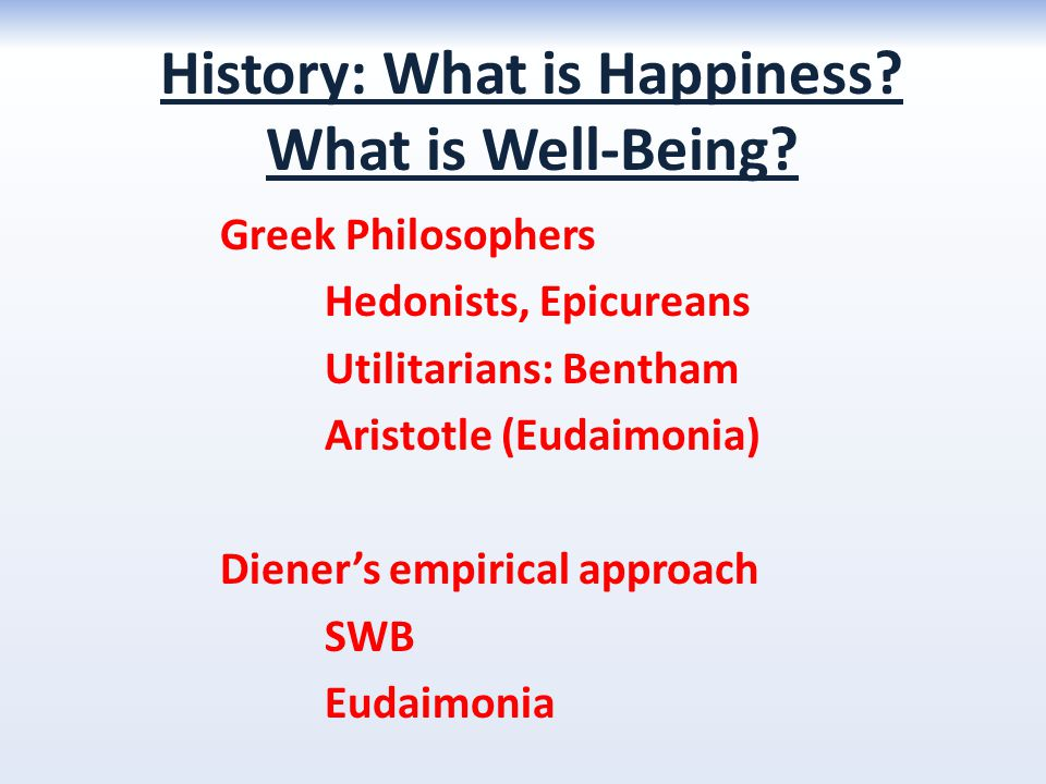 History: What is Happiness What is Well-Being