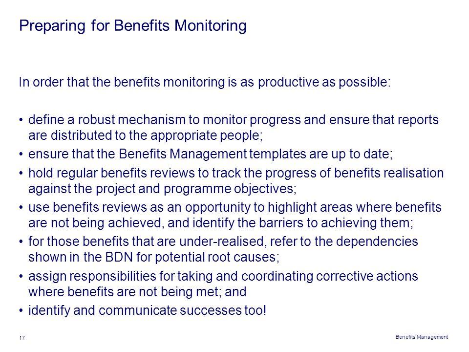 Preparing for Benefits Monitoring