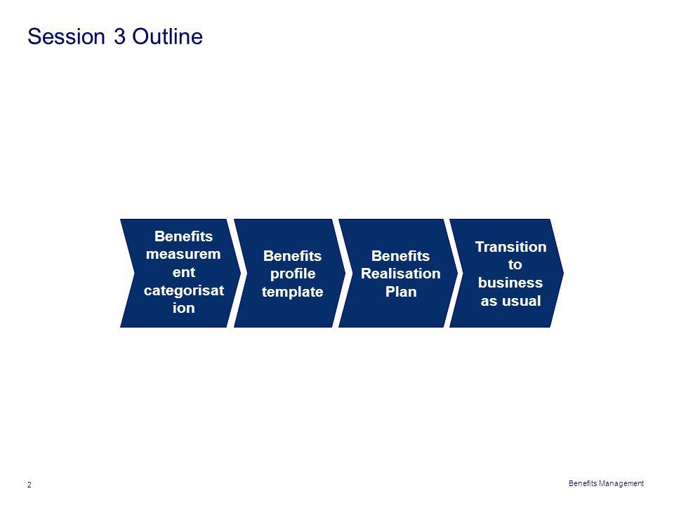 Session 3 Outline Benefits measurement categorisation