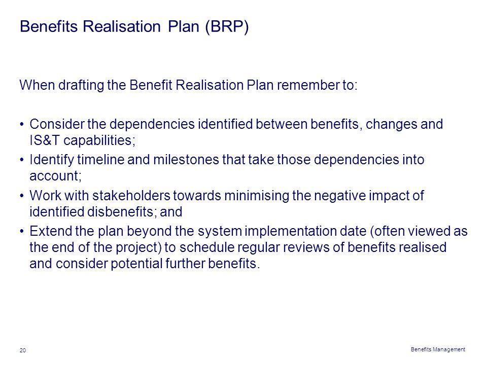 Benefits Realisation Plan (BRP)