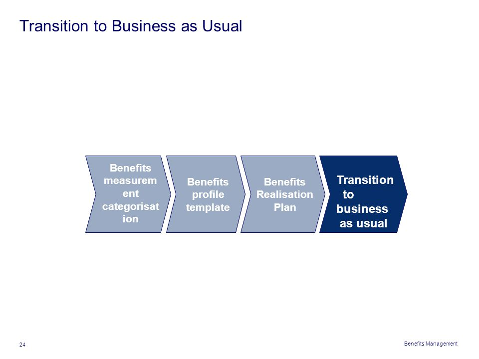 Transition to Business as Usual