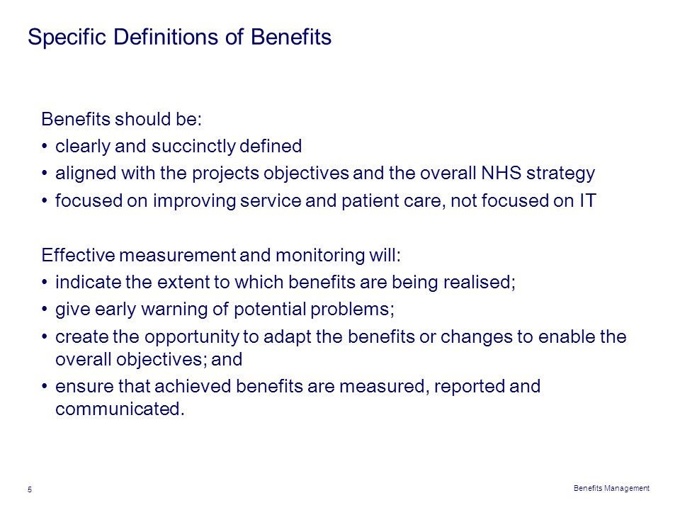 Specific Definitions of Benefits