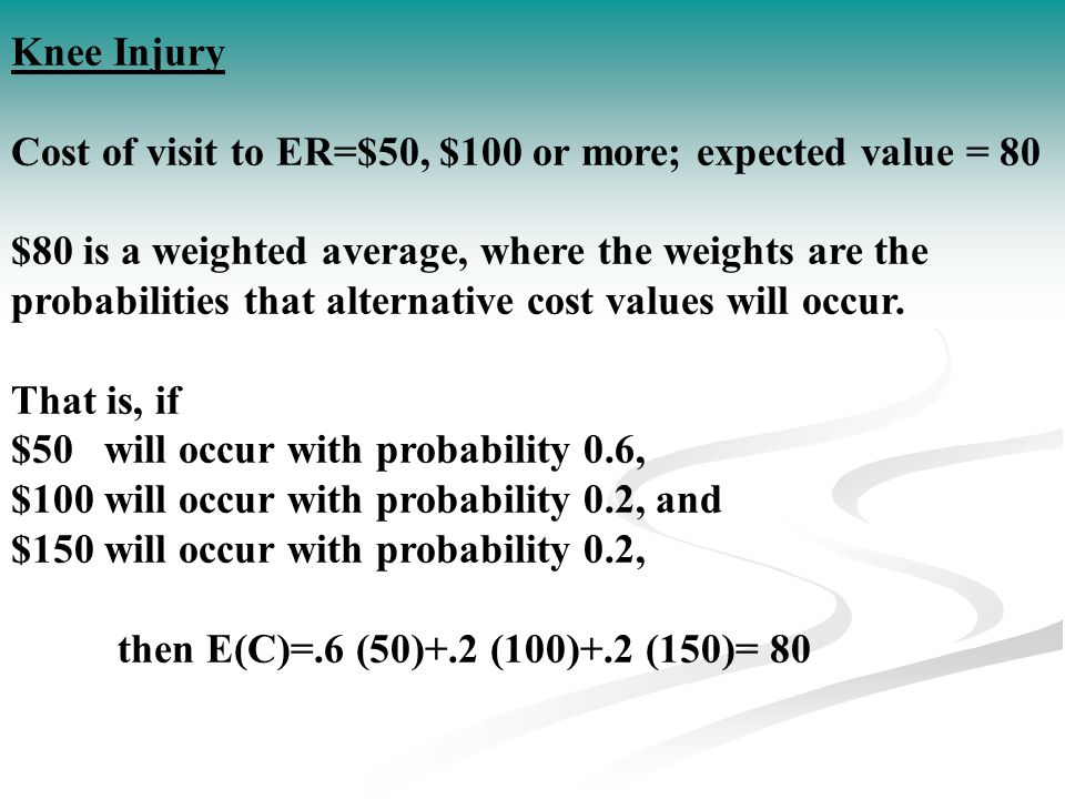 Knee Injury Cost of visit to ER=$50, $100 or more; expected value = 80.