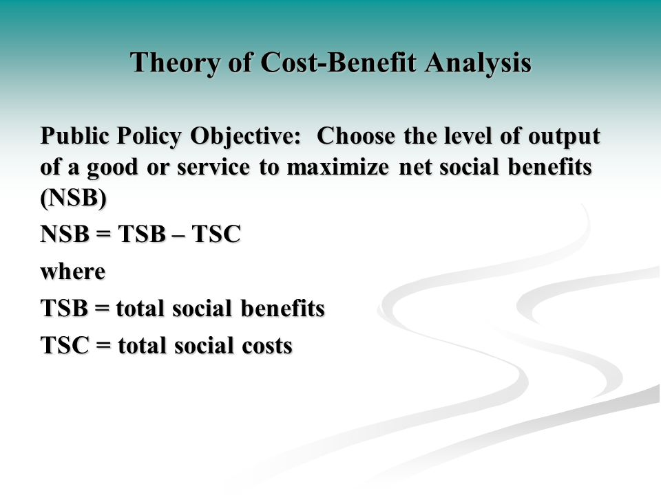 Theory of Cost-Benefit Analysis