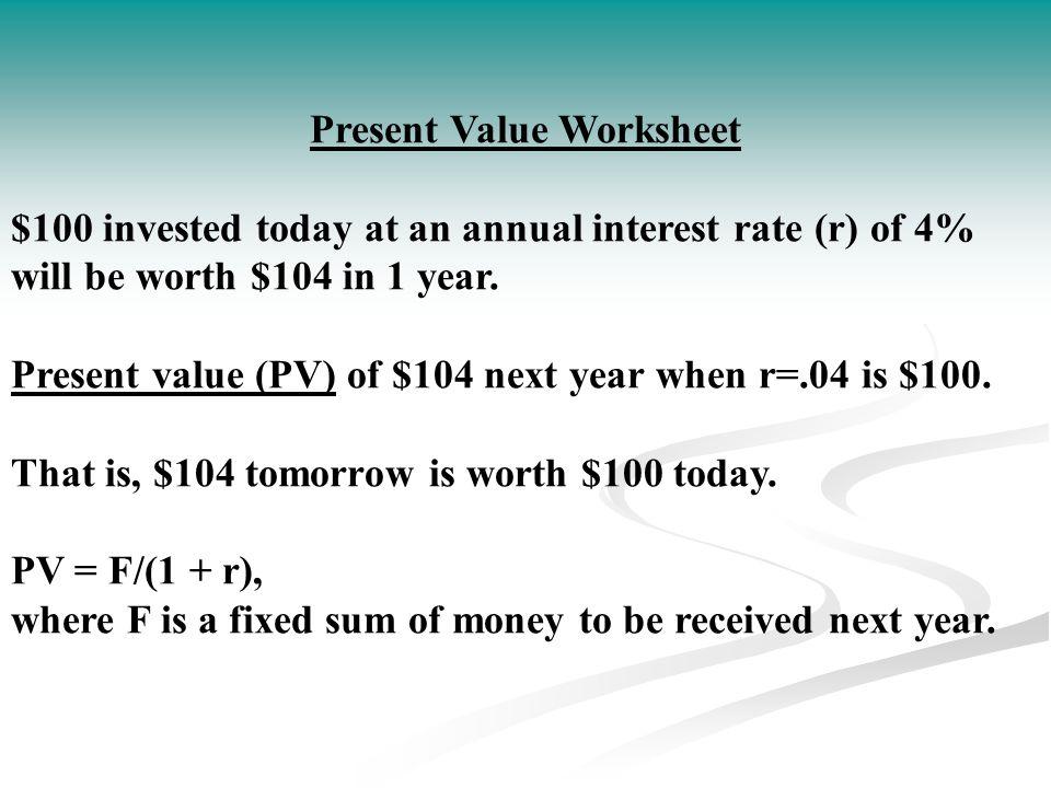Present Value Worksheet