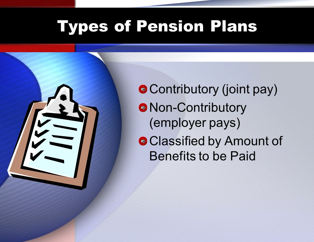 Types of Pension Plans Contributory (joint pay)