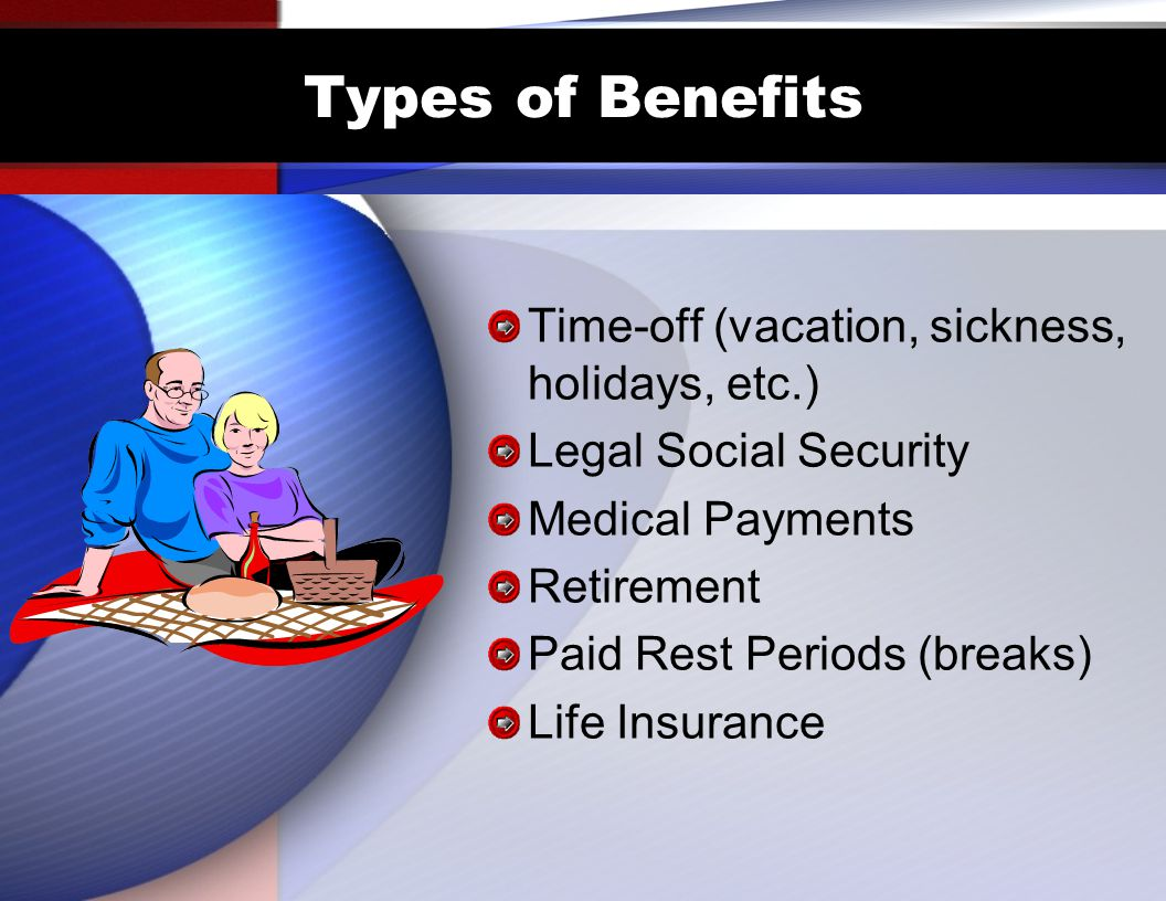 Types of Benefits Time-off (vacation, sickness, holidays, etc.)