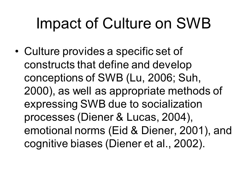 Impact of Culture on SWB