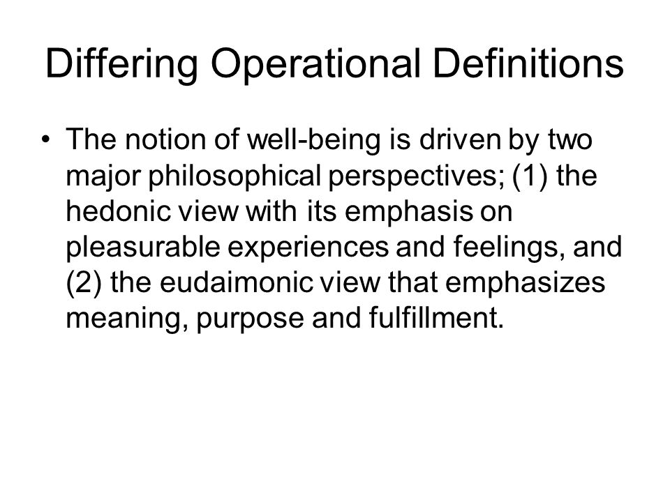 Differing Operational Definitions