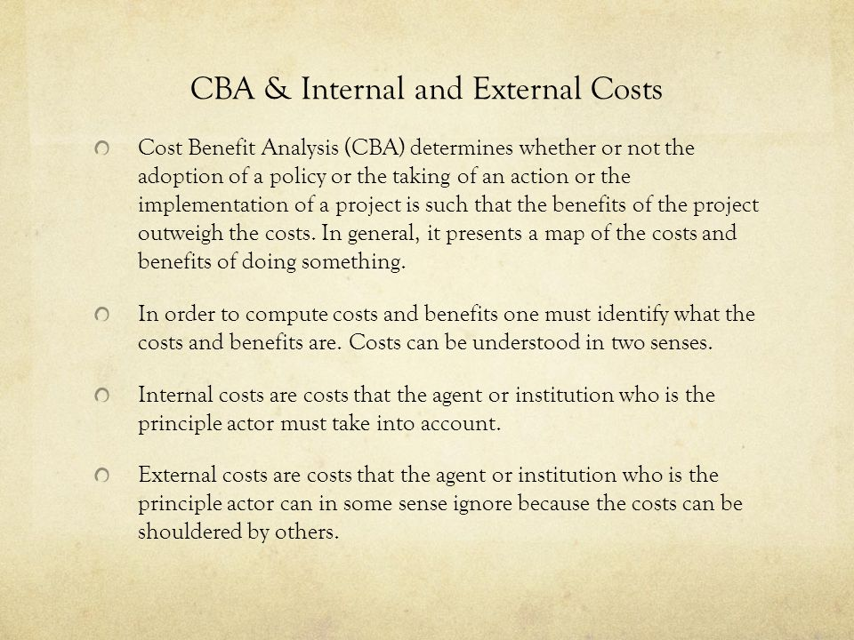 CBA & Internal and External Costs
