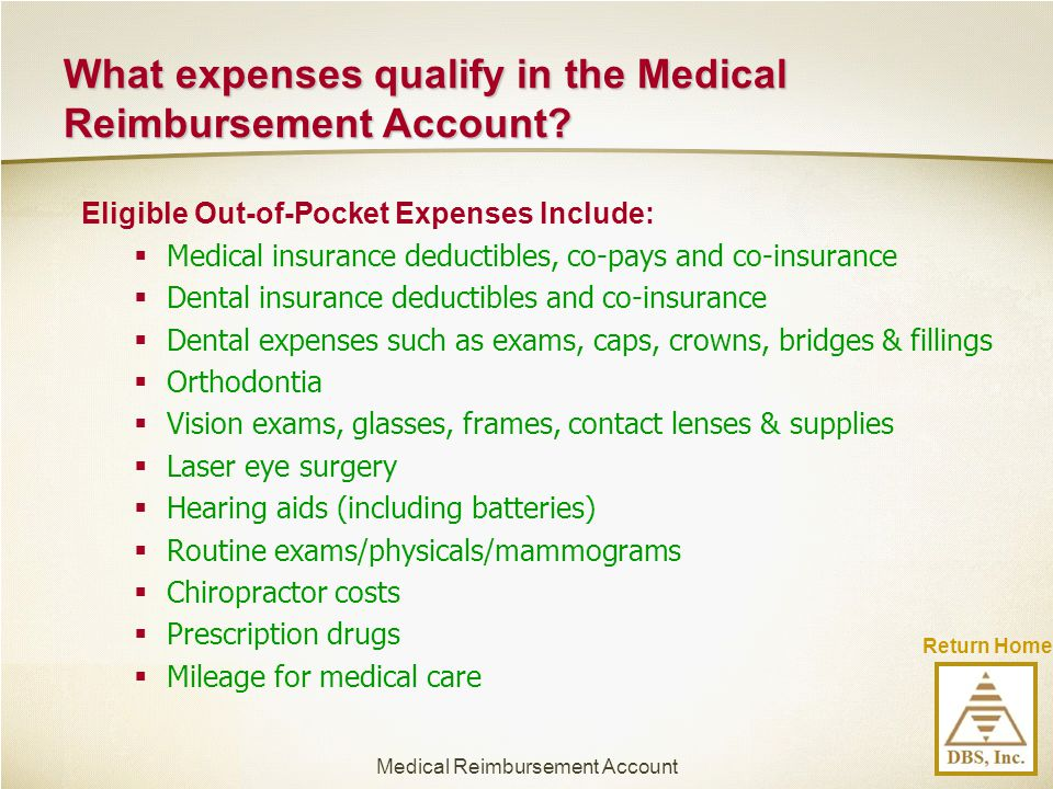 What expenses qualify in the Medical Reimbursement Account
