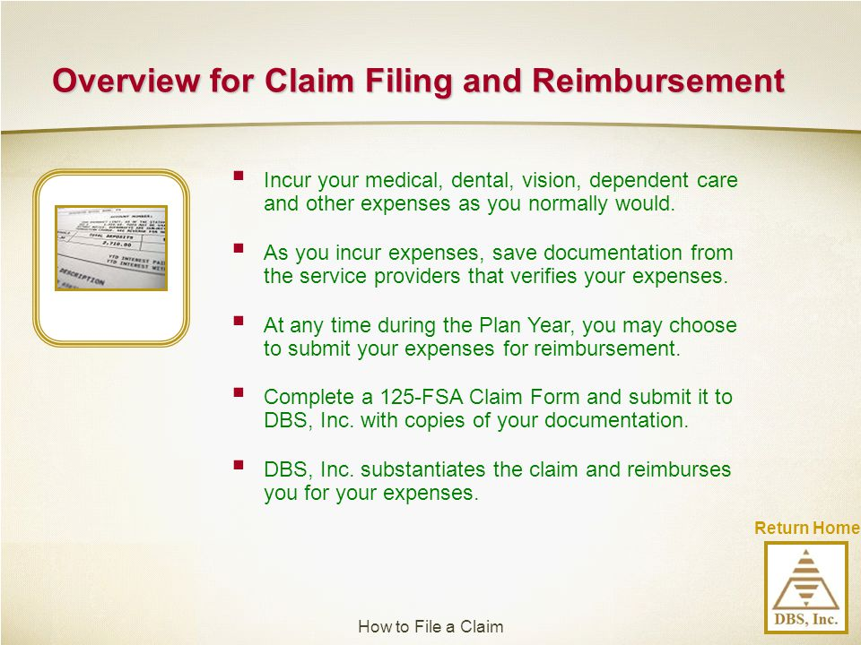 Overview for Claim Filing and Reimbursement