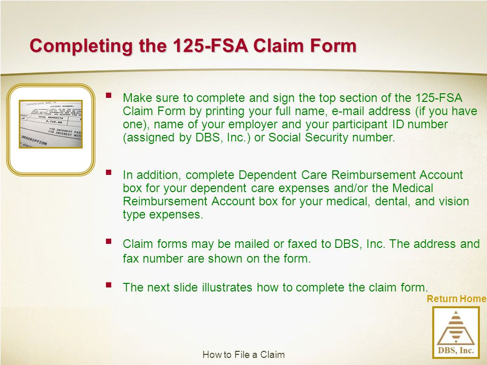 Completing the 125-FSA Claim Form