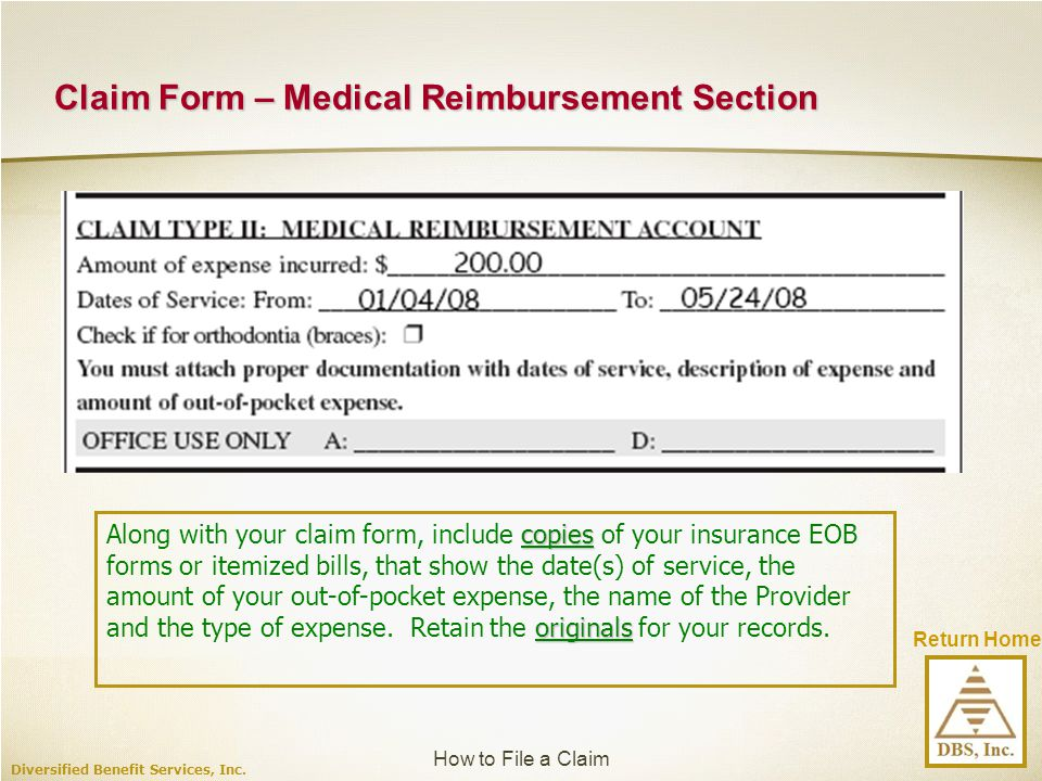Claim Form – Medical Reimbursement Section