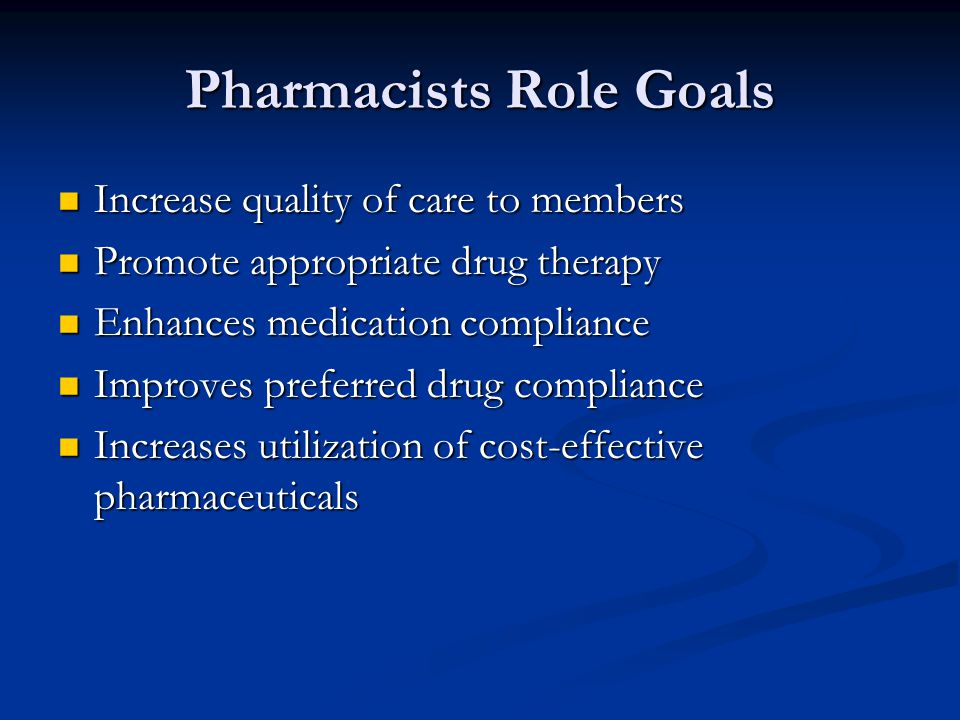 Pharmacists Role Goals